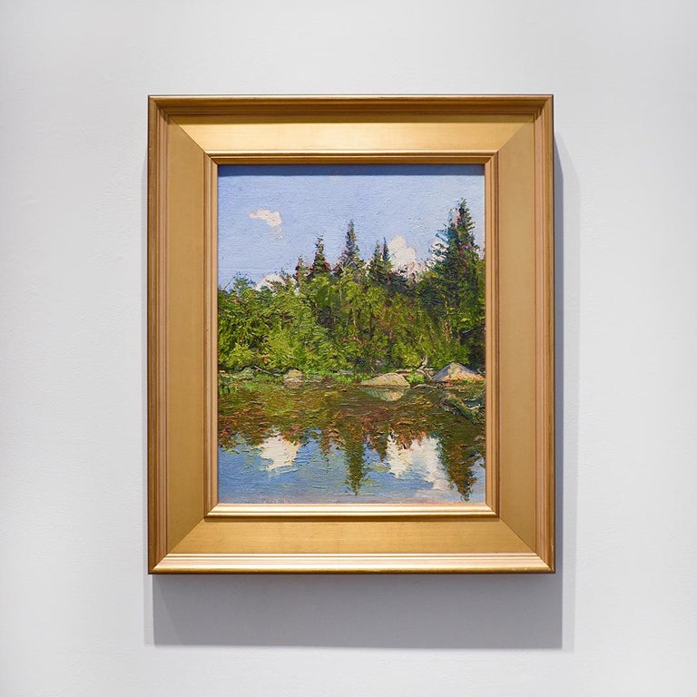 Bear Cove: Impressionist Plein-Air Landscape Painting of a Green Pine Forest  For Sale 1