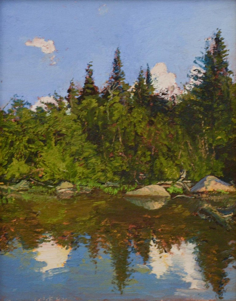 Bear Cove: Impressionist Plein-Air Landscape Painting of a Green Pine Forest  For Sale 3
