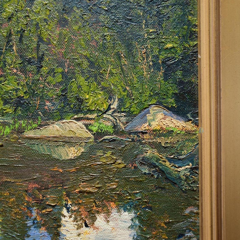 Bear Cove: Impressionist Plein-Air Landscape Painting of a Green Pine Forest  For Sale 5