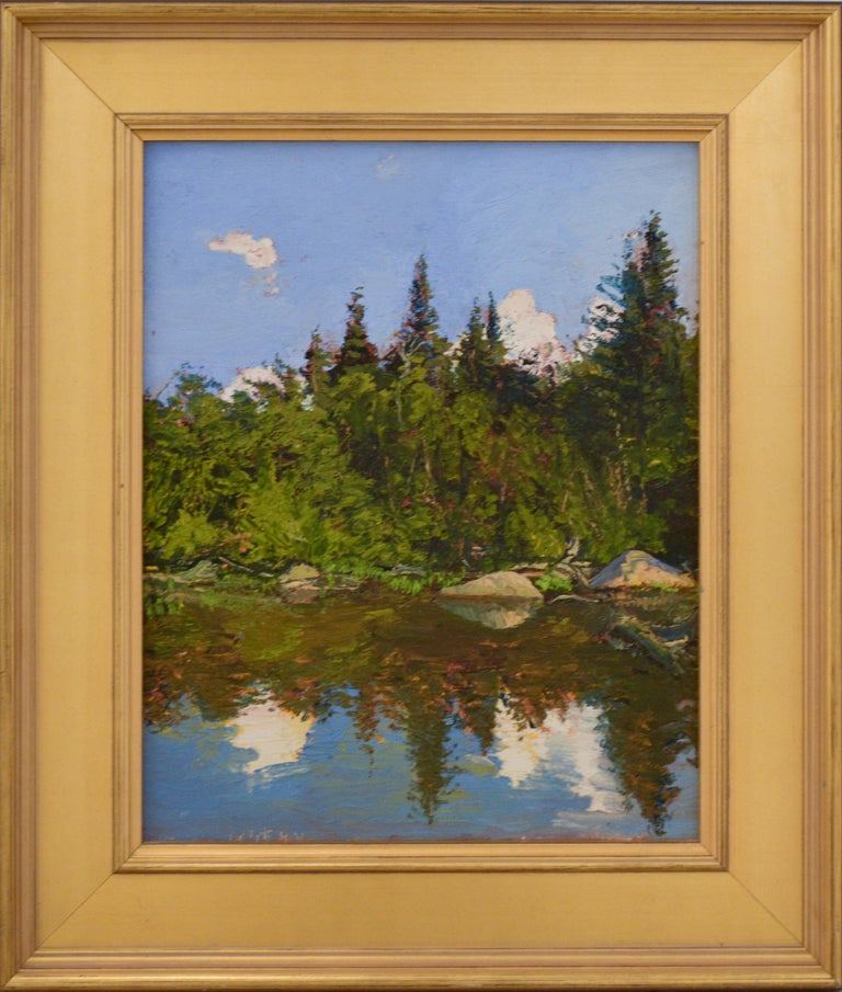 """Impressionist en plein-air landscape painting on linen of an evergreen pine forest on water against a bright blue sky """"Bear Cove,"""" an upstate New York landscape, painted plein-air by Harry Orlyk oil on linen, ready to hang as is  16.75 x 13 inches"""