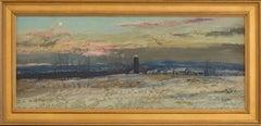 Moon Rise, Blue Silo: Impressionist En Plein Air Winter Landscape Painting
