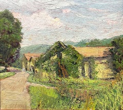 Overgrown Barn: Impressionist En Plein Air Landscape Painting of a Country Farm