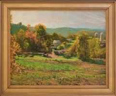 Ted's Farm: Impressionist En Plein Air Landscape Painting of a Country Farm