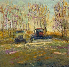 Together Again: Impressionist En Plein Air Landscape Painting of Truck & Tractor