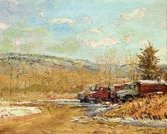 Winter: Impressionist En Plein Air Landscape Painting of Trucks on a Farm