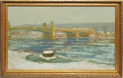Winter Impressionist Landscape Oil Painting by Harry Orlyk, Green Island Bridge