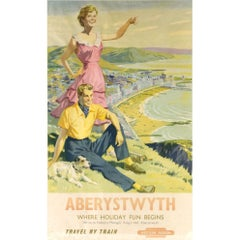 Harry Riley, Aberystwyth British Railways Vintage Travel Poster (c.1956)