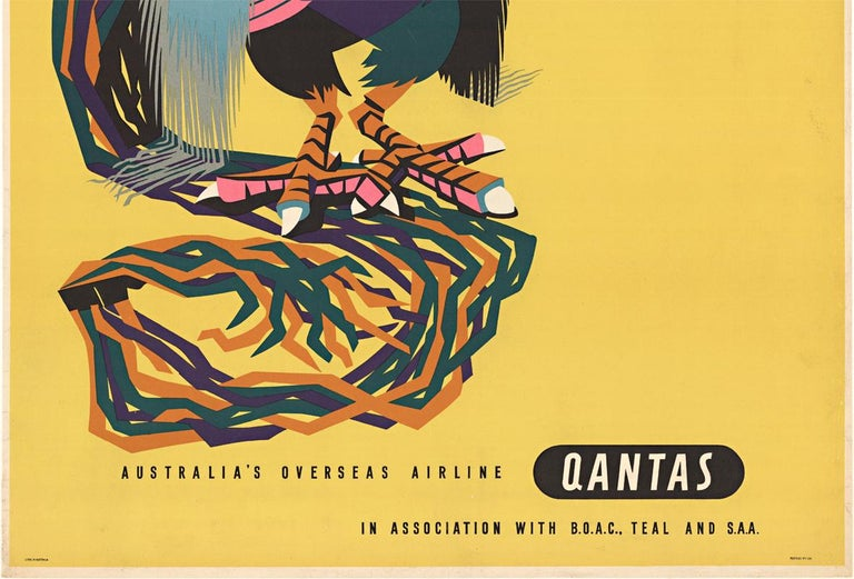 Japan Australia's Overseas Airline Qantas original vintage travel poster - Orange Animal Print by Harry Rogers