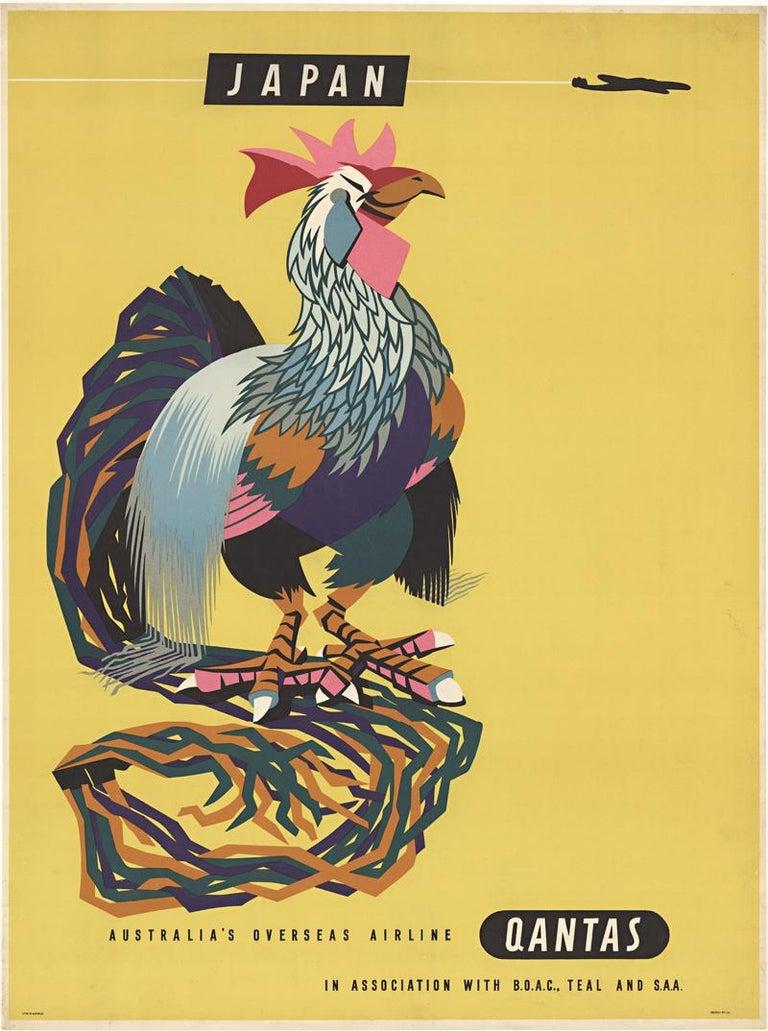 Harry Rogers Animal Print - Japan Australia's Overseas Airline Qantas original vintage travel poster