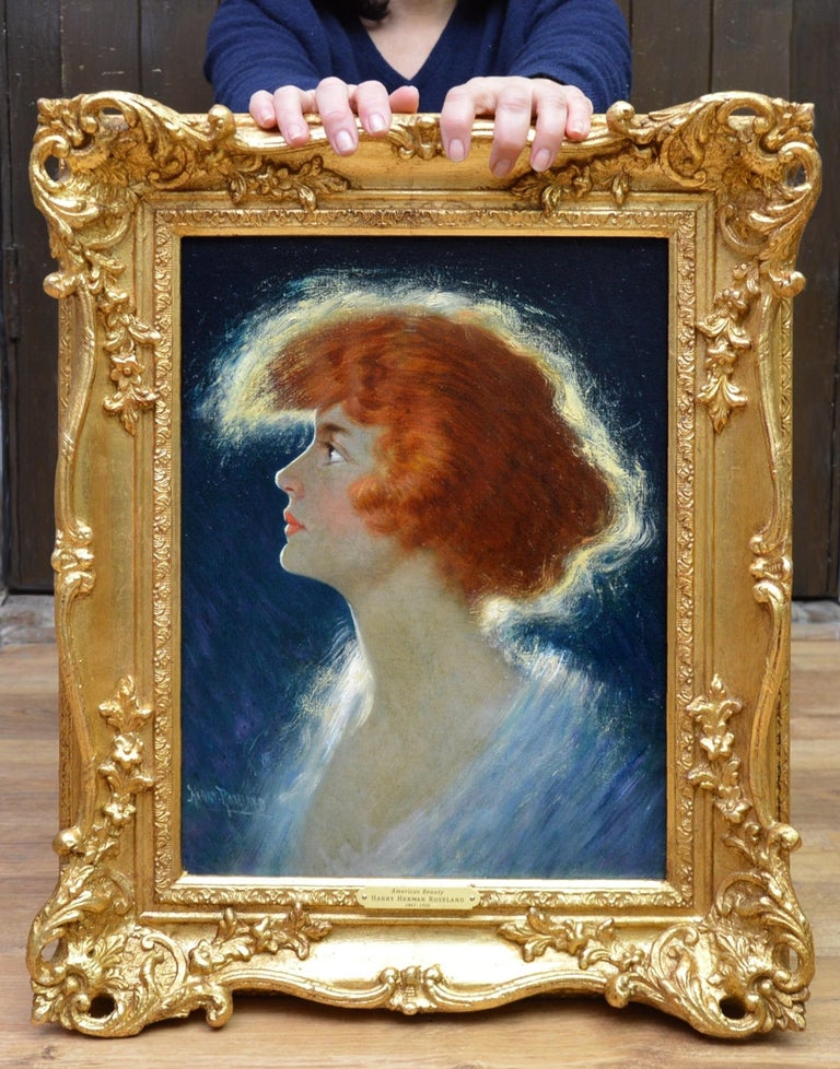 American Beauty - Belle Epoque Oil Painting Portrait of Glamorous Redhead - Beige Portrait Painting by Harry Roseland