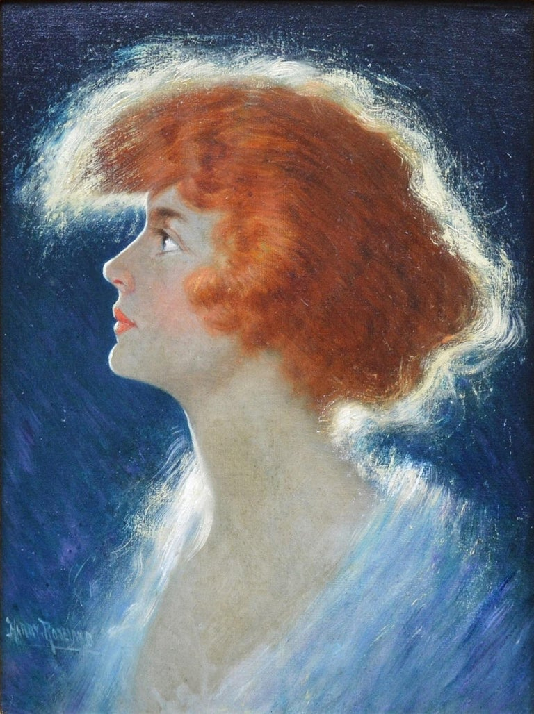 This is a fine Belle Epoque oil painting portrait of a young redheaded beauty strikingly lit from behind by the eminent American painter Harry Herman Roseland (1867-1950). 'American Beauty' is signed by the artist, and hangs in a superb quality,