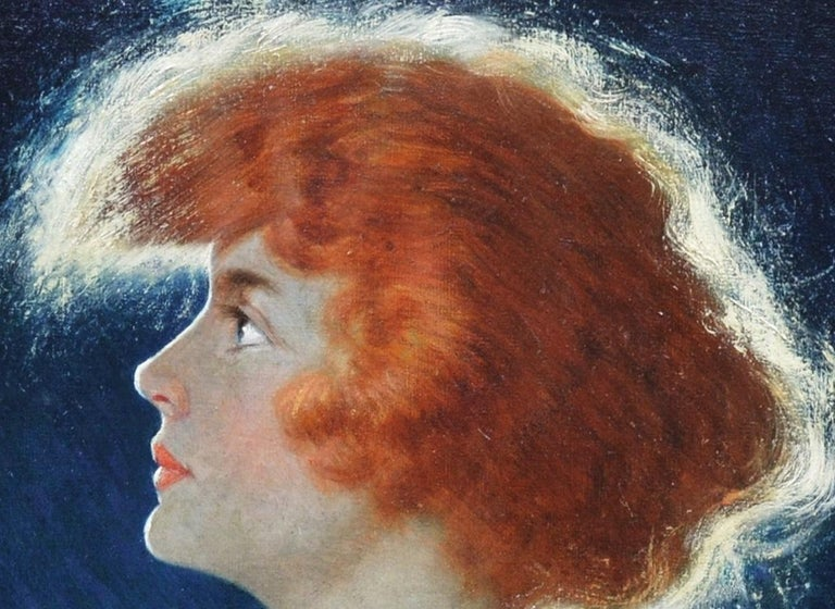 American Beauty - Belle Epoque Oil Painting Portrait of Glamorous Redhead For Sale 1
