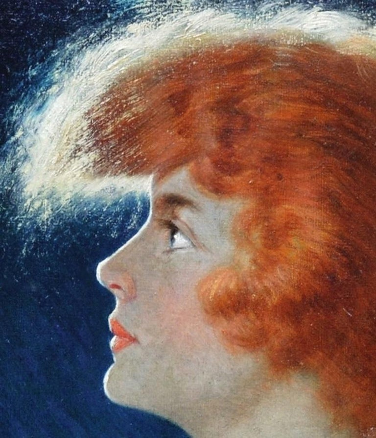 American Beauty - Belle Epoque Oil Painting Portrait of Glamorous Redhead For Sale 2