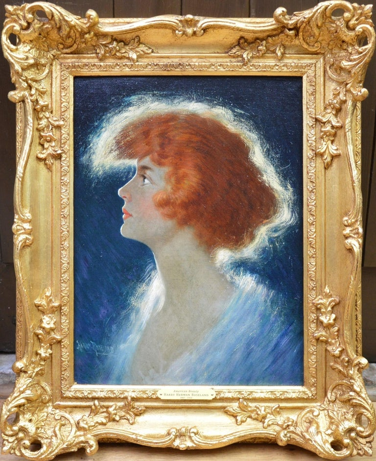 Harry Roseland Portrait Painting - American Beauty - Belle Epoque Oil Painting Portrait of Glamorous Redhead