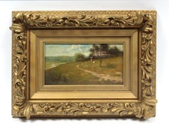 Harry Roseland Antique American Impressionist Oil Painting Framed Figures picnic