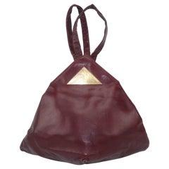 Harry Rosenfeld Original C.1940 Oxblood Leather Triangular Handbag