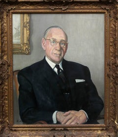 Portrait of a Gentleman - British oil painting interior seated suited man