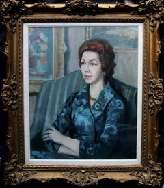 Portrait of a Lady in Blue - British 20thC art oil painting living room interior