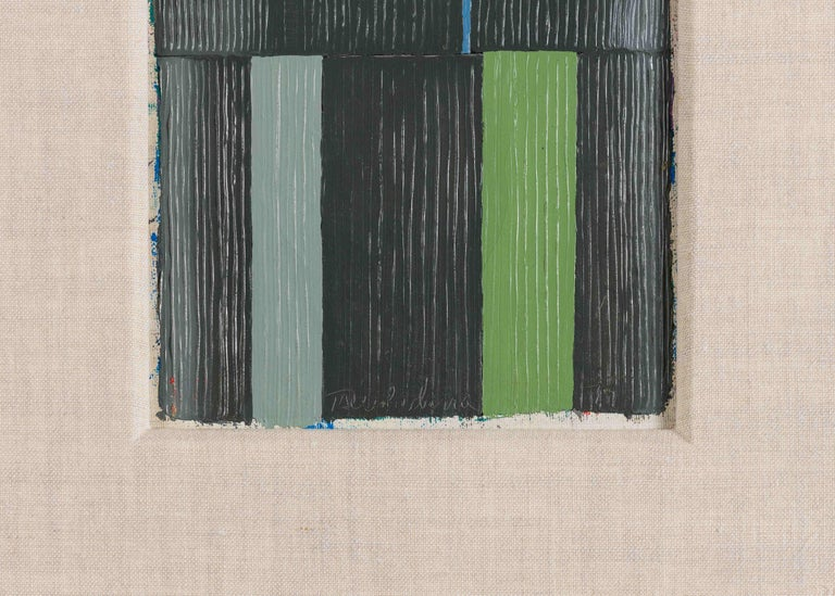 Each of these small, contained abstractions is a prime example of Harry Tsuchidana's vibrant, innovative work--bursting at its geometric seams with textured strokes from the artist's signature palette.  Signed and dated: Tsuchidana - 79.