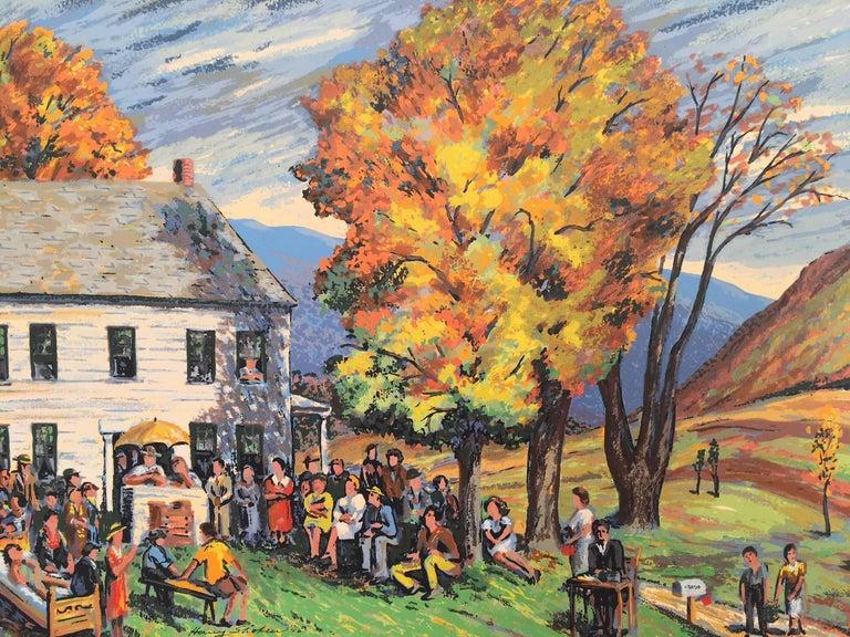 Vermont Auction - Post-Impressionist Print by Harry Shokler
