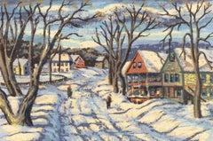 Walking in the Snow (Vermont village)