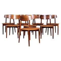 Harry Østergaard, Eight Chairs in Rosewood and Tan Aniline Leather, 1970s