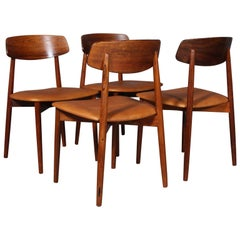 Harry Østergaard, four Chairs in Rosewood and Tan Aniline Leather, 1970s