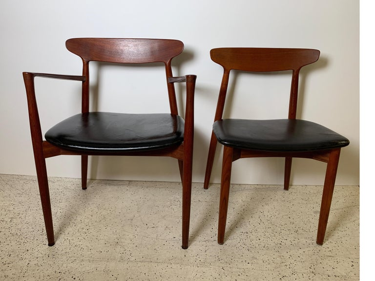 Danish Harry Østergaard Set of Eight Teak and Leather Dining Chairs, Denmark, 1958