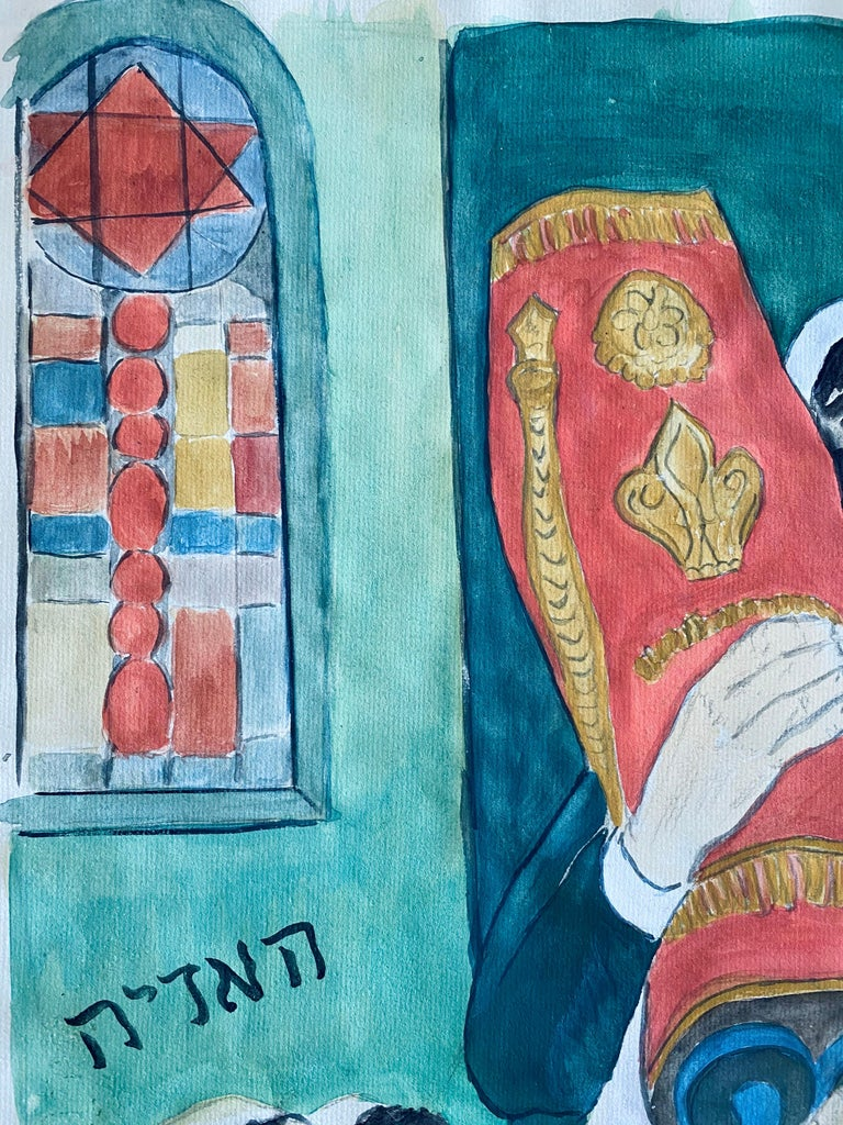 Modernist Rabbi In Synagogue Judaica Watercolor Harry Sternberg  For Sale 1