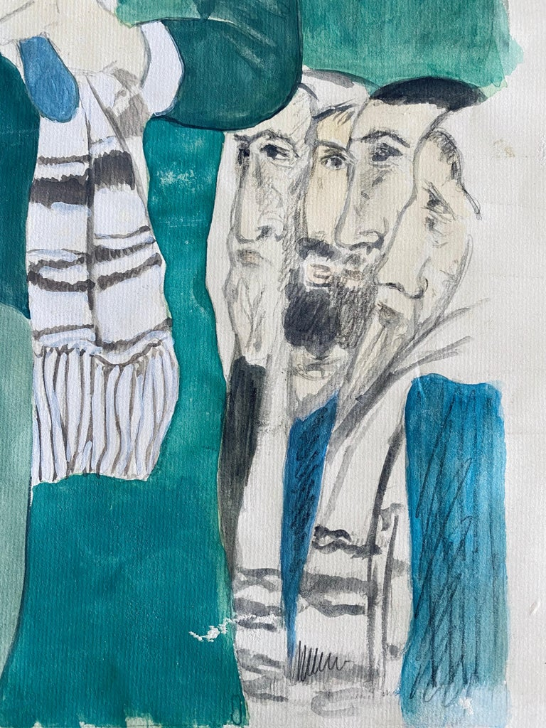 Modernist Rabbi In Synagogue Judaica Watercolor Harry Sternberg  For Sale 2