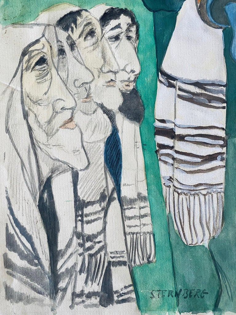Modernist Rabbi In Synagogue Judaica Watercolor Harry Sternberg  For Sale 3