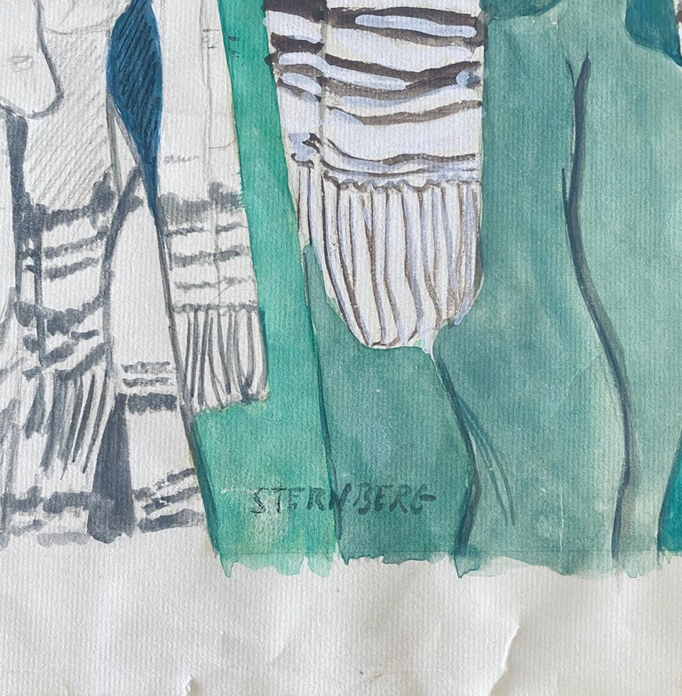 Modernist Rabbi In Synagogue Judaica Watercolor Harry Sternberg  For Sale 4