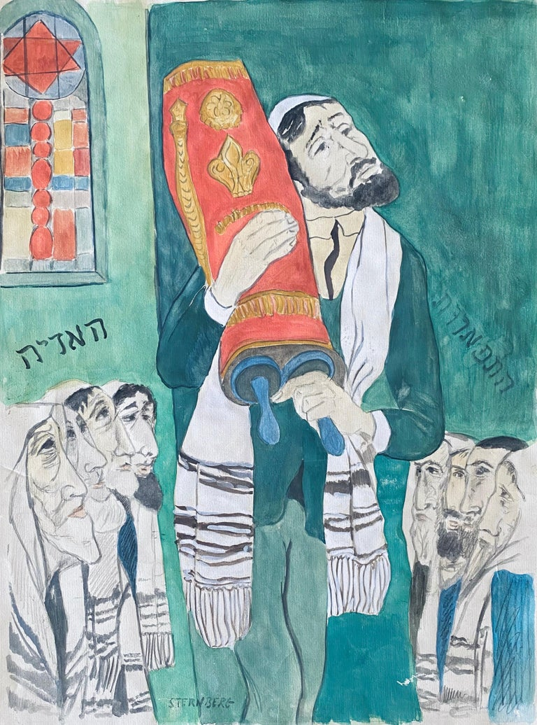 Modernist Rabbi In Synagogue Judaica Watercolor Harry Sternberg  - Painting by Harry Sternberg