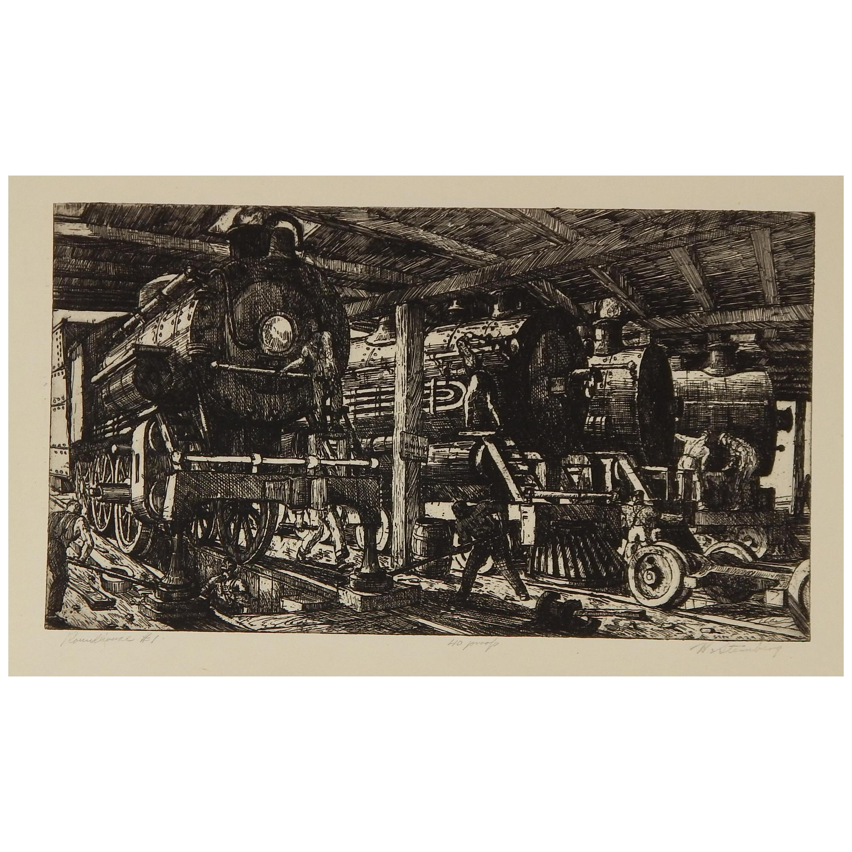 """Harry Sternberg Original Pencil Signed Etching, 1929, """"Roundhouse #1"""""""