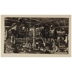 "Harry Sternberg Original Pencil Signed Etching, 1929, ""Roundhouse #1"""