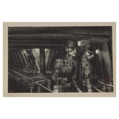 "Harry Sternberg Original Pencil Signed Lithograph, 1936 - ""Seventh Level"""