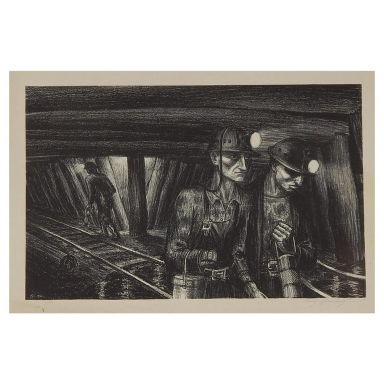 "Harry Sternberg Original Pencil Signed Lithograph, 1936 - ""Seventh Level"" For Sale"