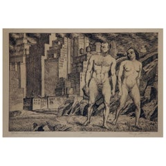 """Harry Sternberg Pencil Signed Etching, 1931, New York City """"Nudes in Landscape"""""""