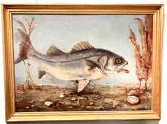 American Impressionist Portrait of a Fish swimming, possibly a carp or Bass