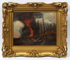 Harry Fisk Wildfire Painting American Impressionist Original Frame 1930 Vibrant