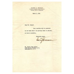 Harry Truman Signed Letter to Robert Gray Taylor, 1954