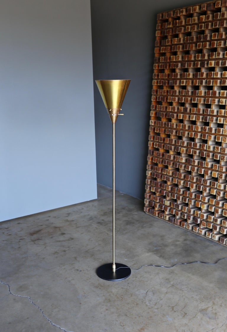 "Brass Harry Weese ""Baldry"" Indirect Floor Lamp, circa 1945 For Sale"