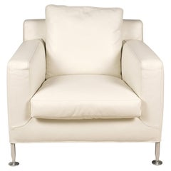 'Harry' White Leather Lounge Chair by Antonio Citterio for B&B Italia