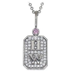 Harry Winston 0.05 Carat Pink Diamond Platinum Charm by HW Logo Pendant