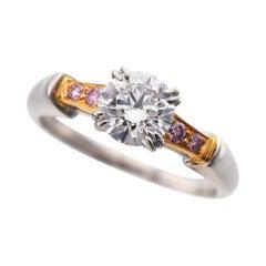 Harry Winston 0.70 Carat Diamond Platinum 18 Karat Pink Gold Classic Tryst Ring