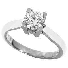 Harry Winston 0.70 Carat Diamond Platinum HW Solitaire Ring
