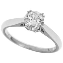 Harry Winston 0.70 Carat Diamond Round Brilliant Engagement Ring Platinum