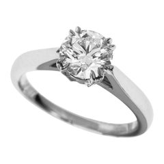 Harry Winston 0.70 Diamond Solitaire Round Brilliant Engagement Platinum Ring