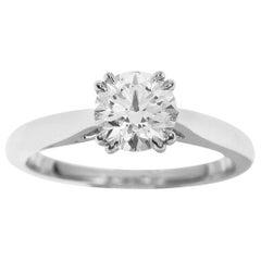 Harry Winston 0.72 Carat Diamond Round Solitaire Platinum Ring