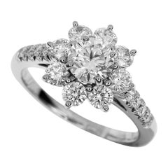 Harry Winston 0.74 Carat Diamond Platinum Sunflower by HW Small Diamond Ring